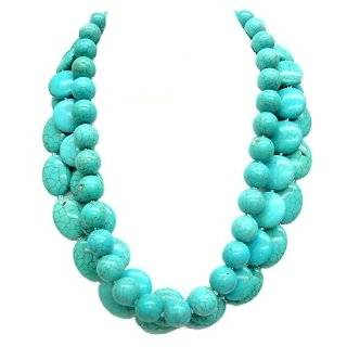 Multi Strand Turquoise Necklace with White Gold Plated Beads Jewelry