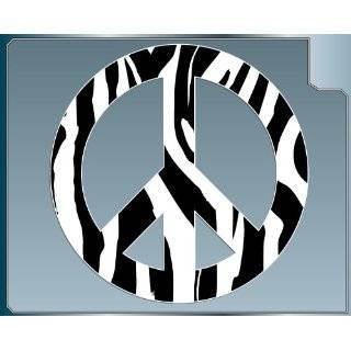 Zebra Striped Peace Sign vinyl decal sticker in White 4 inch