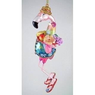 Pink Flamingo & Palm Tree Tiki Bar Christmas Ornament