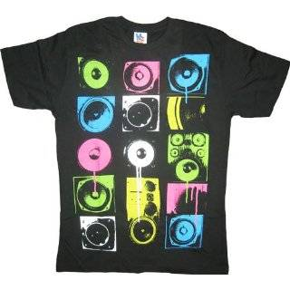 Junk Food Colored Turntable Records Black T shirt Tee