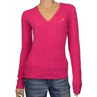 Polo Ralph Lauren Womens Cable Sweater V Neck Navy XS Clothing