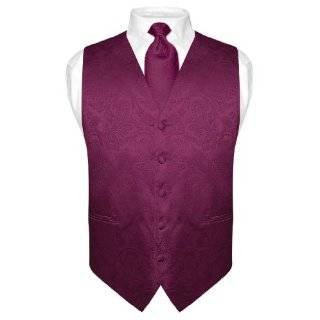 Mens EGGPLANT PURPLE Tie Dress Vest NeckTie Set for Suit
