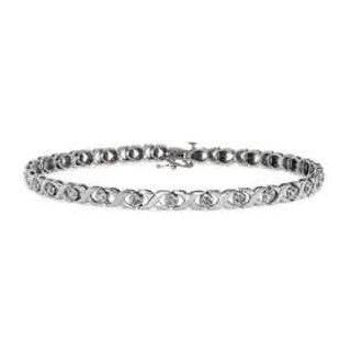 10k White Gold Oval Cut White Topaz Bracelet, 7 Jewelry