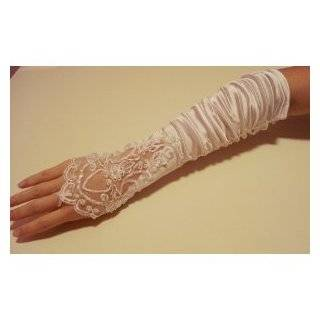 Bridal Gloves Fingerless Satin Lace Pearl Wedding Party Prmo G1