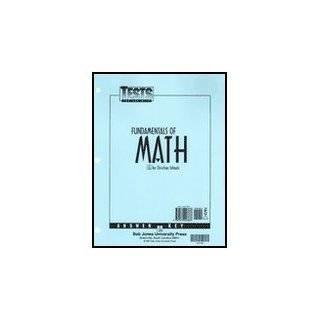 Math 7 Fundamentals Of Math, Tests Answer Key