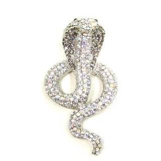 Moveable Gold Tone Crystal Snake Brooch Bar Lapel Pin
