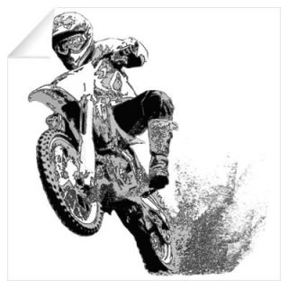 Black/white dirt bike wheeling in mud Wall Decal