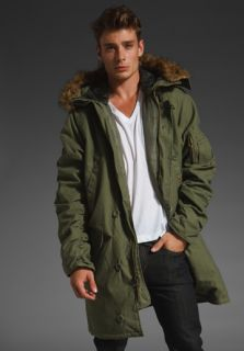 ALPHA INDUSTRIES Slim Fit N3B Cotton Blend Jacket in Olive