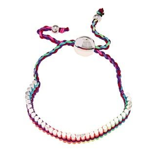 La Preciosa Silverplated Multi colored Cord Friendship Bracelet