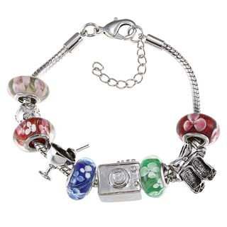 La Preciosa Silvertone Multi colored Floral Glass Bead Charm Bracelet