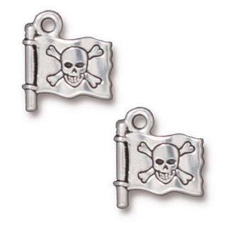 Beadaholique Silverplated Pewter Jolly Roger Pirate Flag Charms (Set