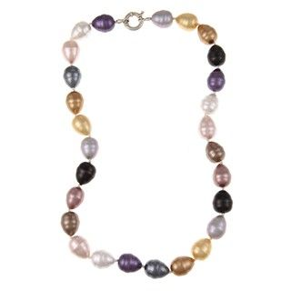 La Preciosa Sterling Silver Multi colored Created Shell Pearl Necklace