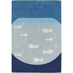 Hand tufted Mandara Blue New Zealand Wool Rug (79 x 106)