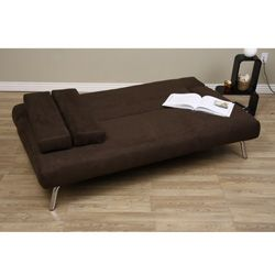 back Dark Brown Microsuede Sofa Bed