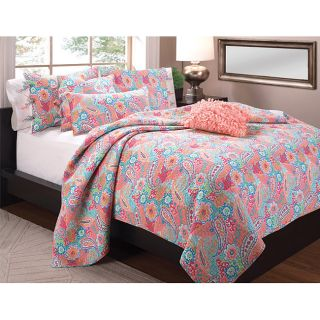 Sunburst Colonial Floral Paisley Pastel Full/Queen Quilt Set