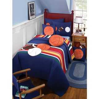 Just For Kicks Sports and Stripes Full/ Queen Quilt Set