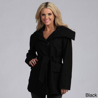 Trilogi Womens Wool Belted Funnel Neck Collar Coat