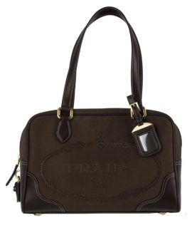 Prada Dark Brown Logo Jacquard Canvas Satchel