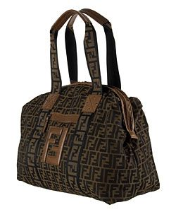 Fendi Brown Logo Jacquard Zucca Weekend Bag