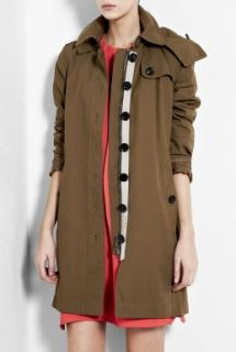 Burberry Brit  Khaki Cotton Workwear Trench Coat by Burberry Brit