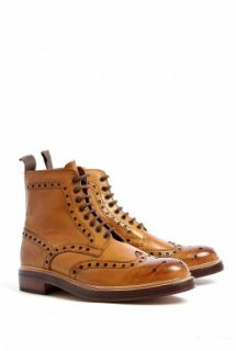 Grenson  Tan Wing Tip Darby Brogue Boots by Grenson