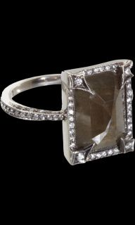 Cathy Waterman Black & White Diamond Frame Ring