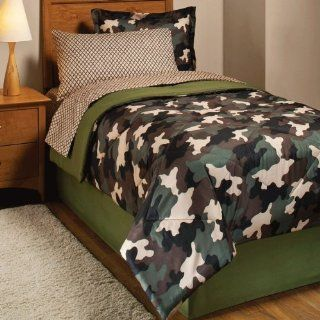 Brown Black Camo Twin Comforter Set (6pc Bed in a Bag): Home & Kitchen