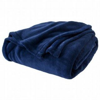 Twin XL Navy Blue Microplush Fleece Blanket Dorm Bedding: Home