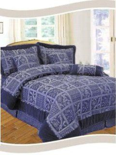 : New Elegant Quilt Pattern Queen Size Jacquard Dark Blue 7 Piece Bed