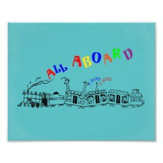 Cute Choo Choo Train All Aboard Animals Poster Pri