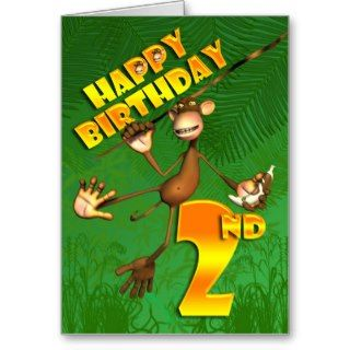 Happy 2nd Birthday Monkey Banana Card