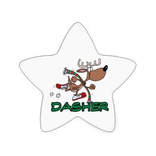 cute running reindeer DASHER cartoon Star Stickers