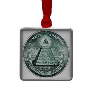Eye On The Dollar Illuminati Pyramid Christmas Tree Ornaments