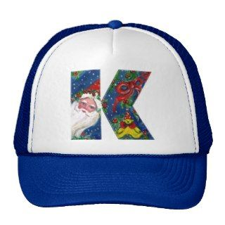 CHRISTMAS K LETTER / SANTA CLAUS WITH RED RIBBON MESH HATS