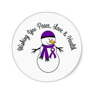 Christmas Snowman Pancreatic Cancer Ribbon Stickers