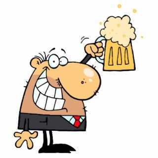 happy man cartoon celebrating with beer photo cutout