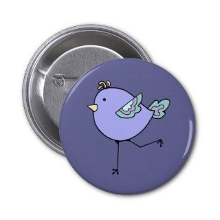 Love Running with Cute Cartoon Chick, Bird Pinback Buttons