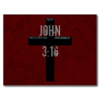 John 3:16 Christian Cross Post Cards