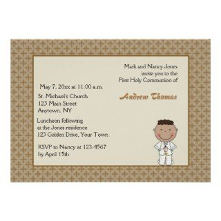 Gold Cross Border, Boy Communion Invitation