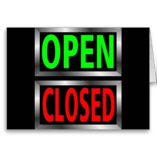 Open Closed Signs Vector Clipart Greeting Card