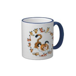 Cute Cartoon Tigers Mandala (Blue) Mug by Lioness_Graphics