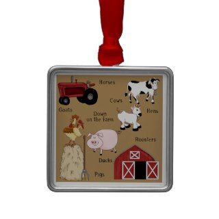 Country Christmas Farm Animals Christmas Tree Ornaments