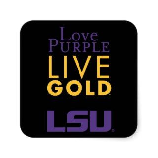 LSU Love Purple Live Gold Logo Stickers