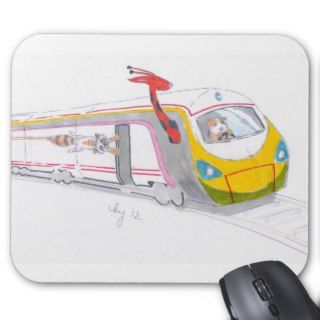 high speed train cartoon & guinea pig giraffe mouse pads