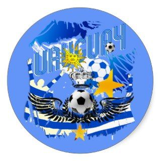 Uruguay grunge graphic art soccer futbol gifts round sticker