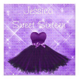 Sweet 16 Purple Dress Silver Glitter Birthday Custom Invitations
