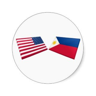 US & Philippines Flags Round Stickers