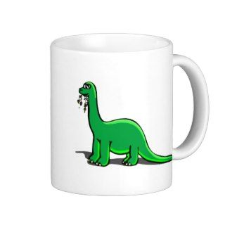 Cartoon Dinosaur Eating Coffee Mugs
