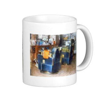 Barber Chair With Orange Barber Cape Coffee Mugs