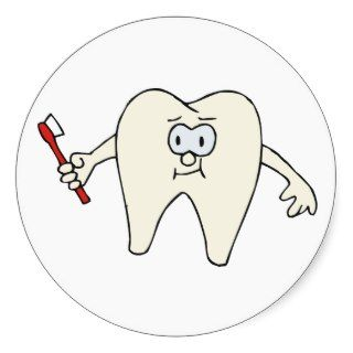 Tooth & Toothbrush 6 ~ Dental Dentist Hygienist Round Stickers